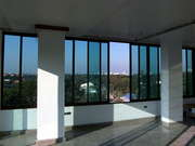 Wide Sliding Windows Set With View Of The City