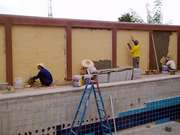 Rendering The Swimming Pool Area Wall In Cream Cement