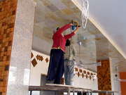 Polishing The Reception Suite Marble Ceiling